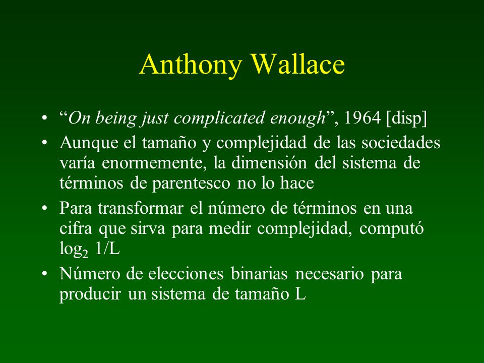 Anthony Wallace On being just complicated enough , 1964 [disp]
